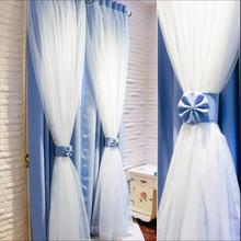 Nordic Ins Modern Tulle+Black Out Double Curtains Priceness house High Black Blinds Window For Livingroom