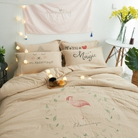 Light Tan Cheap Flamingo Printing Bedding Sets For Home Twin Queen Size Duvet Cover Solid Color