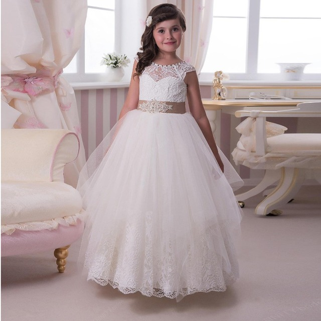 ca4c7955bcb 2016 Lace Flower Girls Dresses For Wedding Sheer Scoop Cap Sleeve With Sash  Bow Tulle Long Junior Bridesmaid Dresses