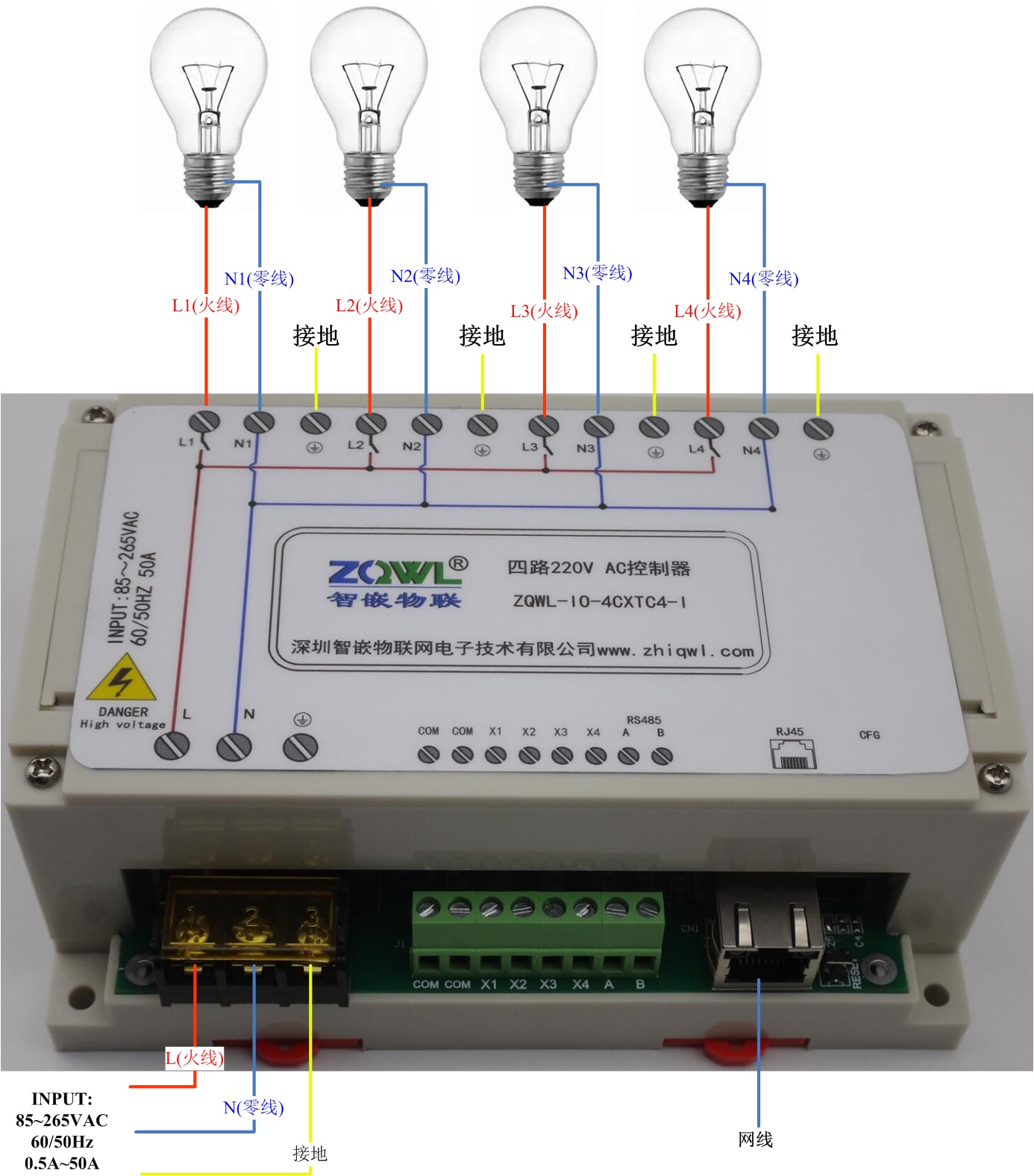 4-Channel Network 220VAC Controller/RS485/Modbus TCP RTU/Industrial Level4-Channel Network 220VAC Controller/RS485/Modbus TCP RTU/Industrial Level