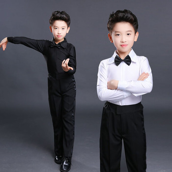 Nnew 2020 Long sleeves white black latin shirts dance pants boys costume boy Short sleeve - discount item  10% OFF Stage & Dance Wear