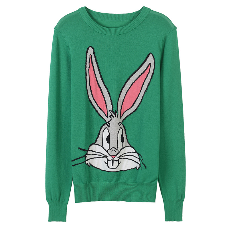 2018 New Runway Pullover Sweater Women Designer Cartoon Rabbit Bugs bunny Embroidery O-neck Winter Knitted Jumper jacquard