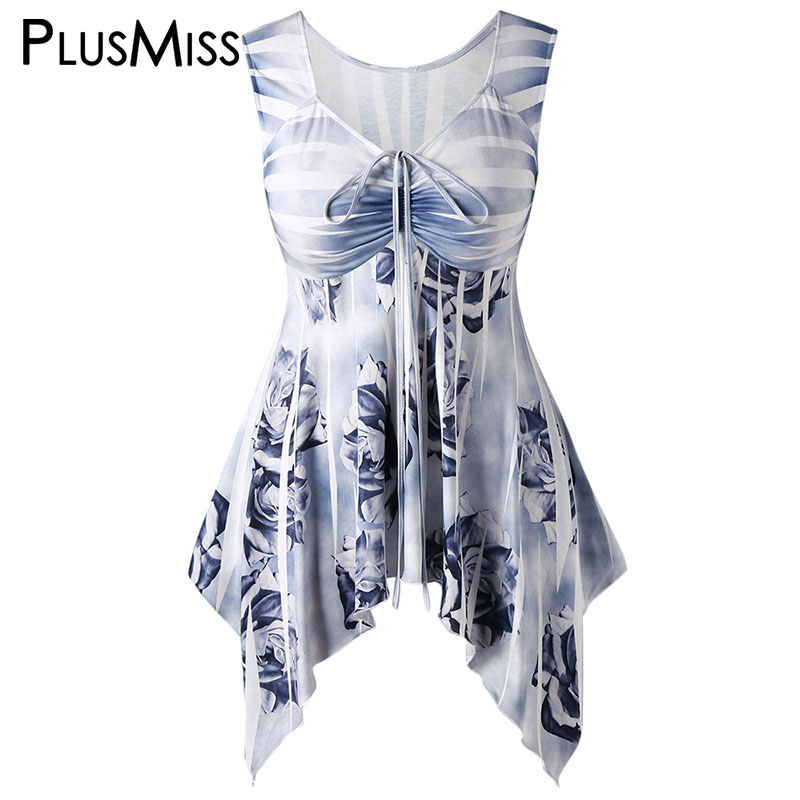PlusMiss Plus Size 5XL Summer 2018 Sleeveless Floral Printed Tunic Tank Top Women Clothing Big Size Loose Vest Ladies Female