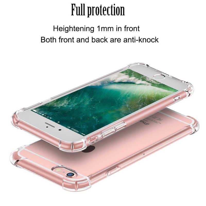 2018 טלפון מקרה עבור Iphone 7 בתוספת אנטי לדפוק עבור X 5 5S Se 6 6 s 8 שקוף עבה רך Tpu חזרה כיסוי
