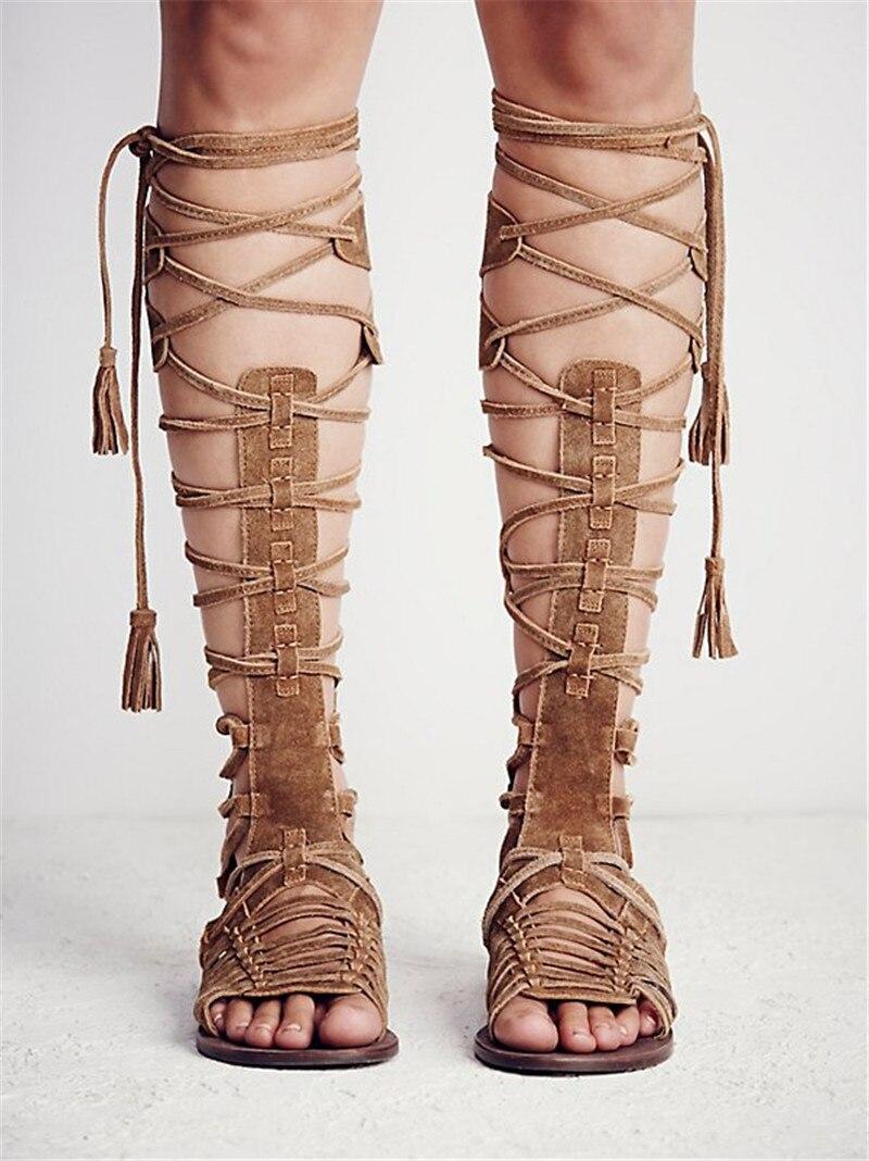 Dos Cut marron De Bottes Ouvert Chaussures Gladiateur Bohême Lace 42 Haute Femmes Beige 2019 35 Taille Bout Au Sandales gris Glissière Style Genou Out Plat Grand Up Uv7w4q