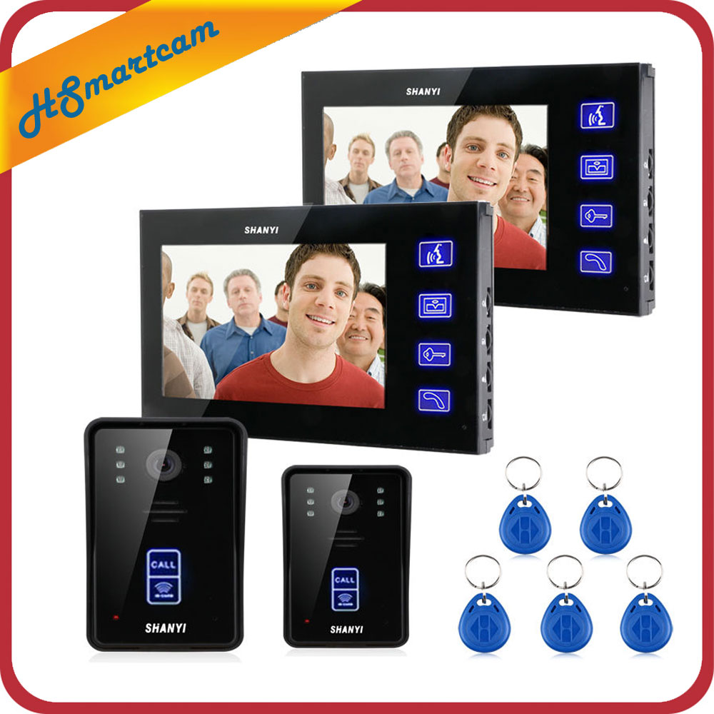 7 Inch TFT Touch Screen LCD Color Wired Video Door Phone Doorbell RFID Intercom System 2 IR Camera 2 Monitor wired video door phone intercom doorbell system 7 tft lcd monitor screen with ir coms outdoor camera video door bell