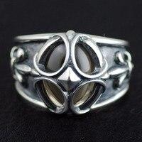 Для мужчин модели Кристалл кольцо поверхности Ретро кросс якорь цветы тайский серебряное кольцо