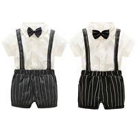 紳士スタイル赤ちゃん男の子夏服セットショーツスリーブ白いtシャツ+サスペン