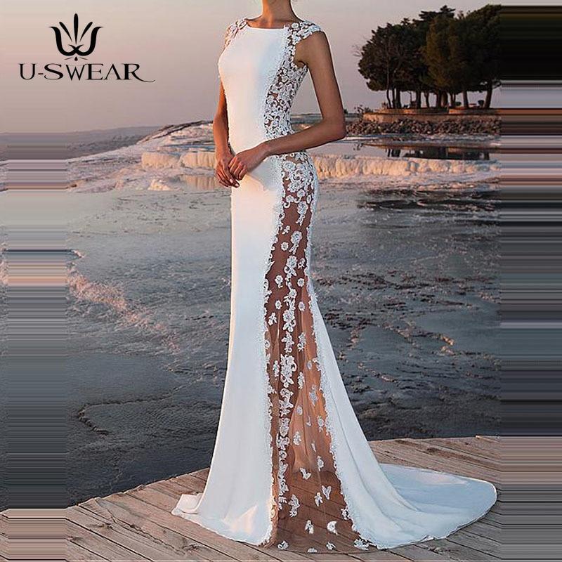 U-SWEAR Evening Dress 2019 Sexy O-Neck Sleeveless Applique Evening Party Prom Formal Gowns Long Dresses Vestidos Robe De Soiree