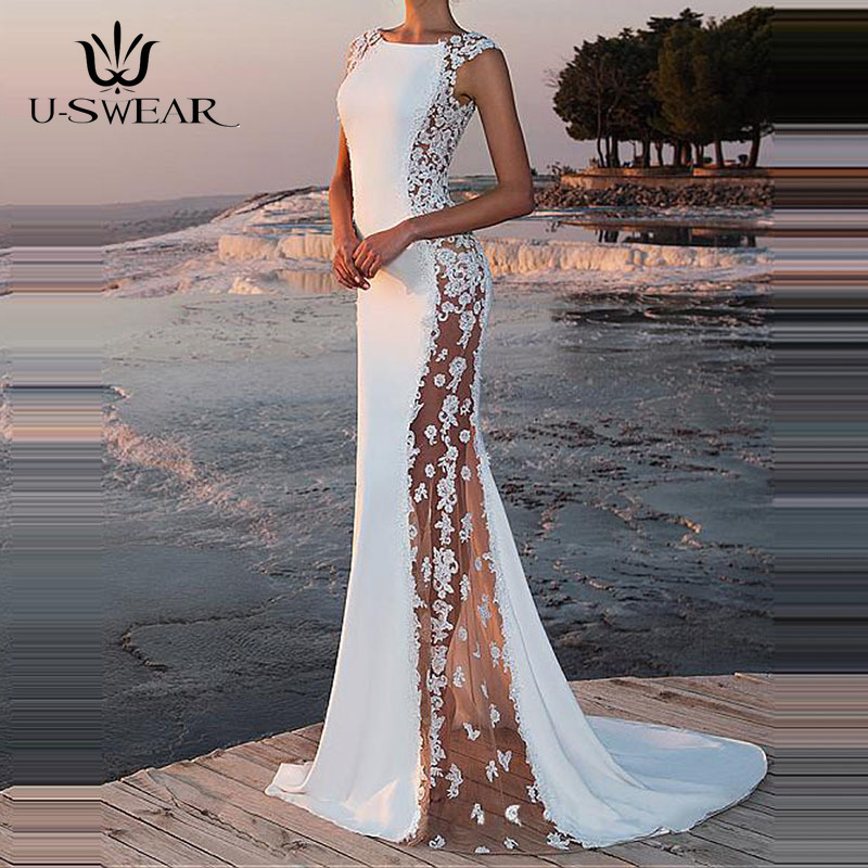 U-SWEAR   Evening     Dress   2019 Sexy O-Neck Sleeveless Applique   Evening   Party Prom Formal Gowns Long   Dresses   Vestidos Robe De Soiree