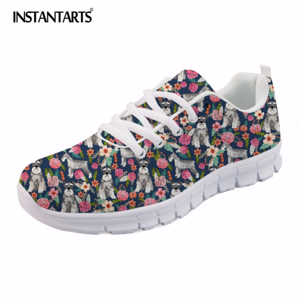 INSTANTARTS Schnauzer Pattern Women Lace Up Flat Shoes Summer Spring Sneaker Shoes for Girls Female Zapatos Mujer Casual Flats instantarts casual women s flats shoes emoji face puzzle pattern ladies lace up sneakers female lightweight mess fashion flats