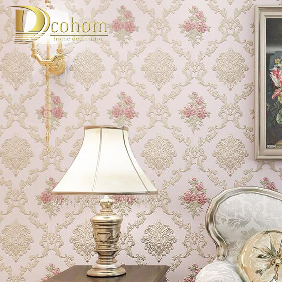 Romantic Pink Flower Non-woven Wallpaper 3D Embossed Textured Wallcoverings Floral Wall Paper Wedding Room Wall Rolls beibehang hot sale romantic dandelion wedding home 3d wallpaper purple pink yellow non woven flowers wallpapers mural wall p