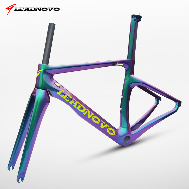Leadnovo 3K Glossy And Matte Surface Road Bike Bicycle Carbon Frameset BB30/BB68(BSA),customzied Color Frame Is Available