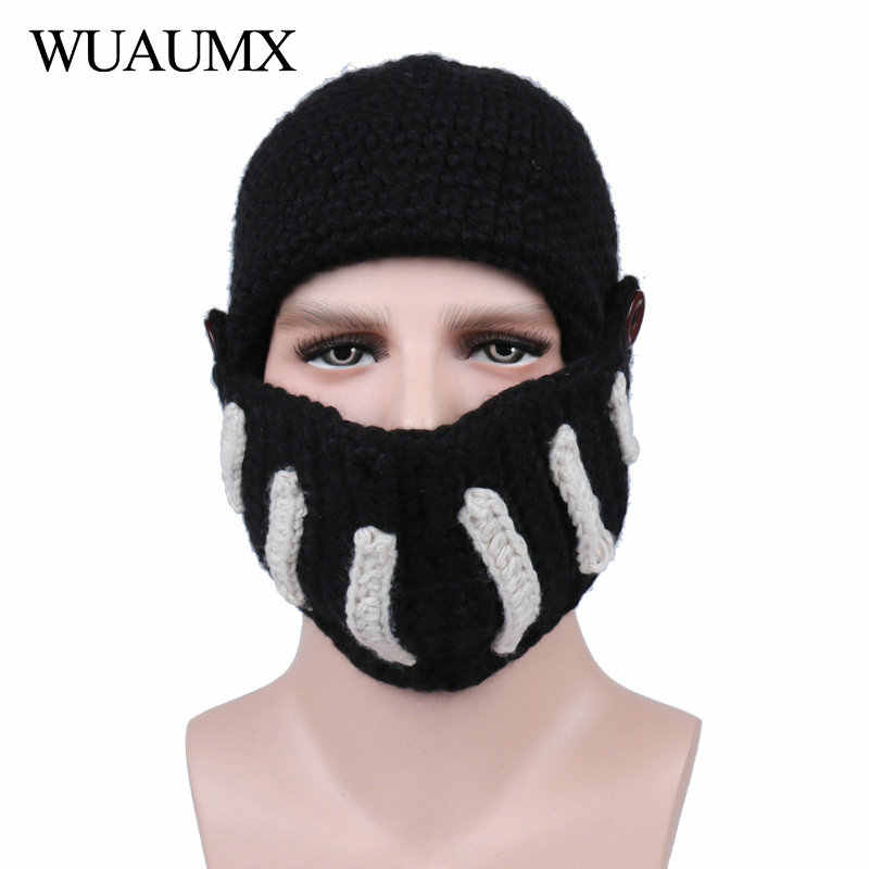 5782a5d21d437 ... Wuaumx Novelty Roman Hat Winter Beanie Hats For Men Warm Mask Knight  Helmet Knitted Cap Handmade