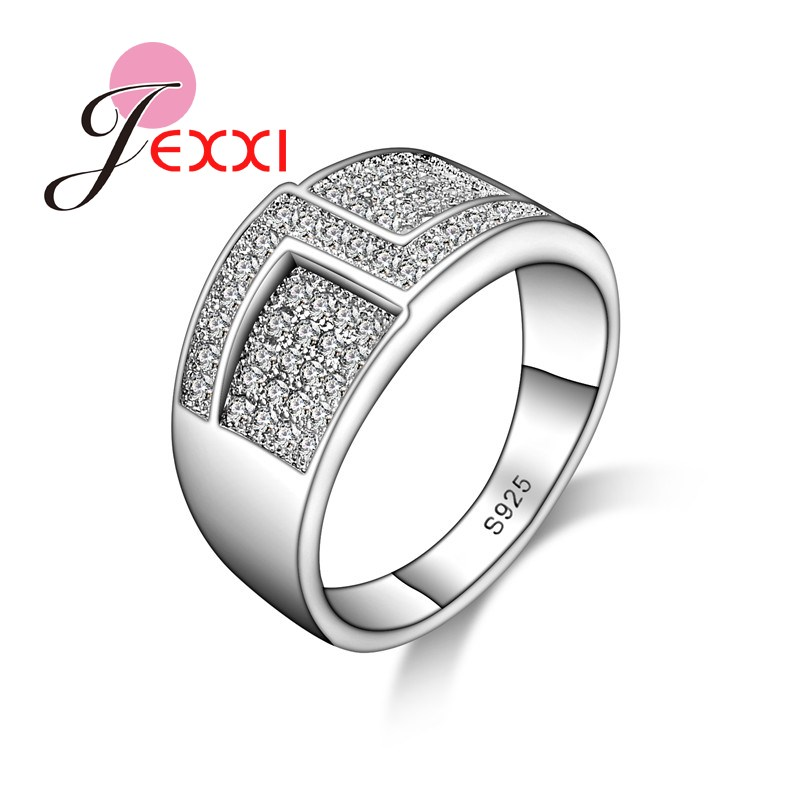 Newest Geometric Design Unisex Crystal 925 Sterling Silver Rings For Women And Men Fashion Anillos Jewellery