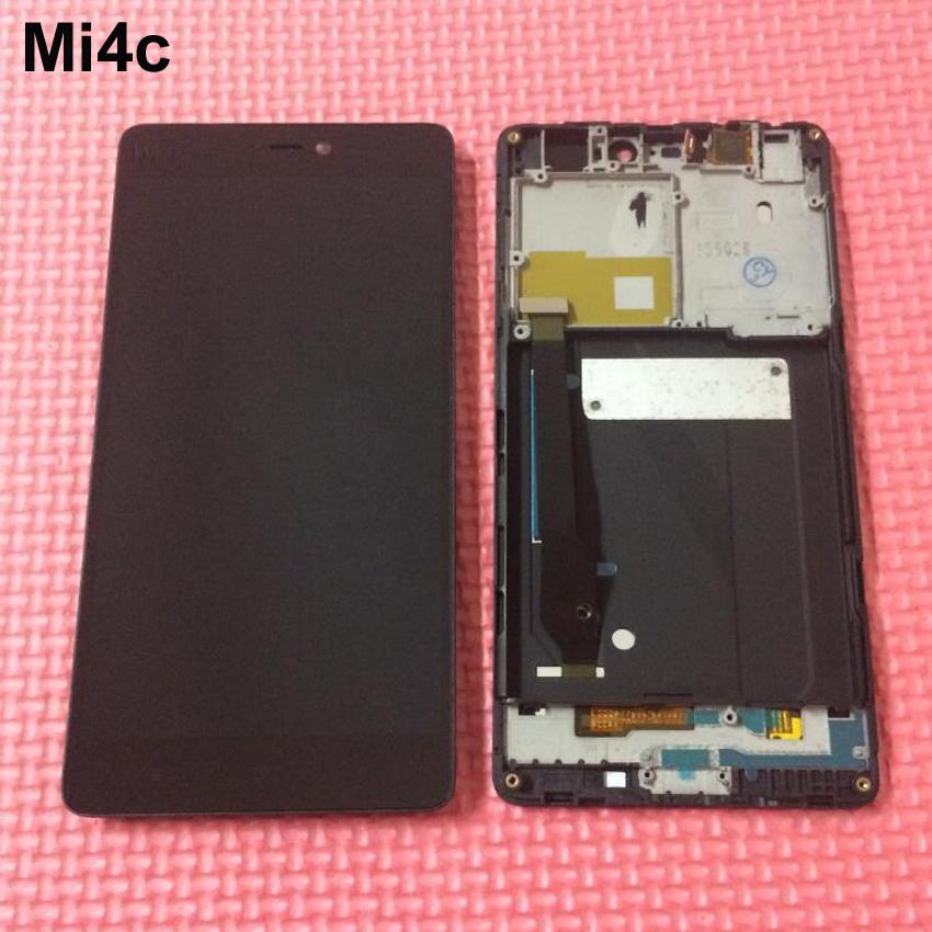 Prix pour 100% testé travail lcd affichage à l'écran tactile digitizer assemblée avec cadre pour xiaomi mi4c mi 4c m4c téléphone pièces de rechange