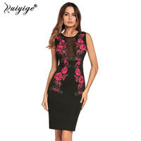 Ruiyige 2018 Women Hollow Out Pencil Bodycon Embroidery Sexy Club Dress Sleeveless Party Tunic Back Zipper