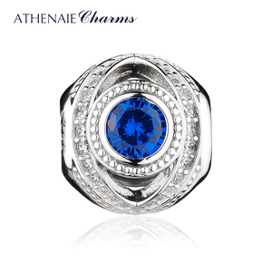 Image 2 - ATHENAIE 925 Sterling Silver Watchful Eye Blue Clear CZ Bead Charms Fit European Women Bracelets Christmas Gift Jewelry