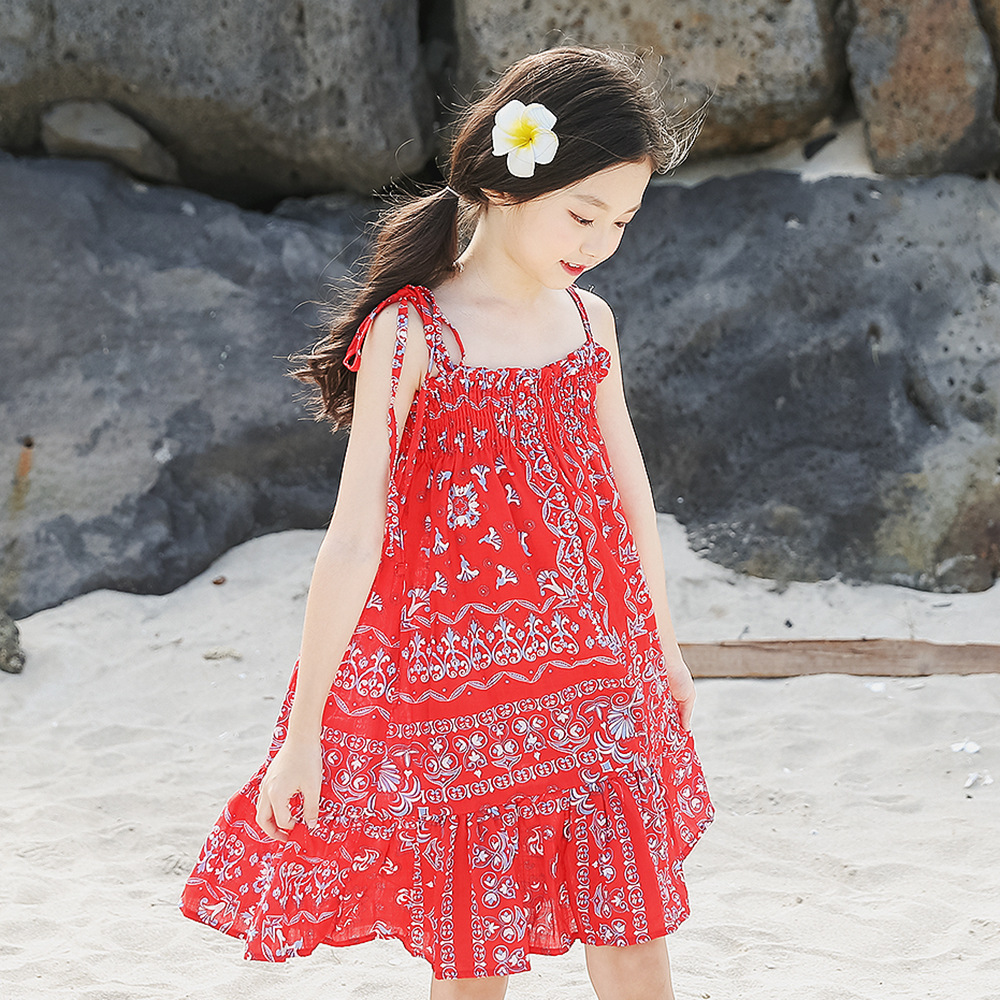 цена Girls Beach Dress Clothing 12 years 2018 Summer Toddler Girls Dress size 4 5 6 7 8 9 10 11 12 years old