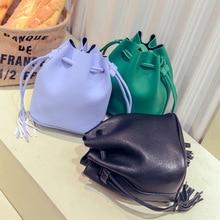2016 Special Offer Totes Single Tassel Unisex Solid New Korean Mini Bag Simple Pumping Fringed Bucket Shoulder Wholesale Cross