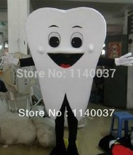 mascot Wholesale Tooth Teeth Mascot Costume Adult Size Mr. Teeth Fancy Dress Mascotte Outfit Suit EMS FREE SHIPPING