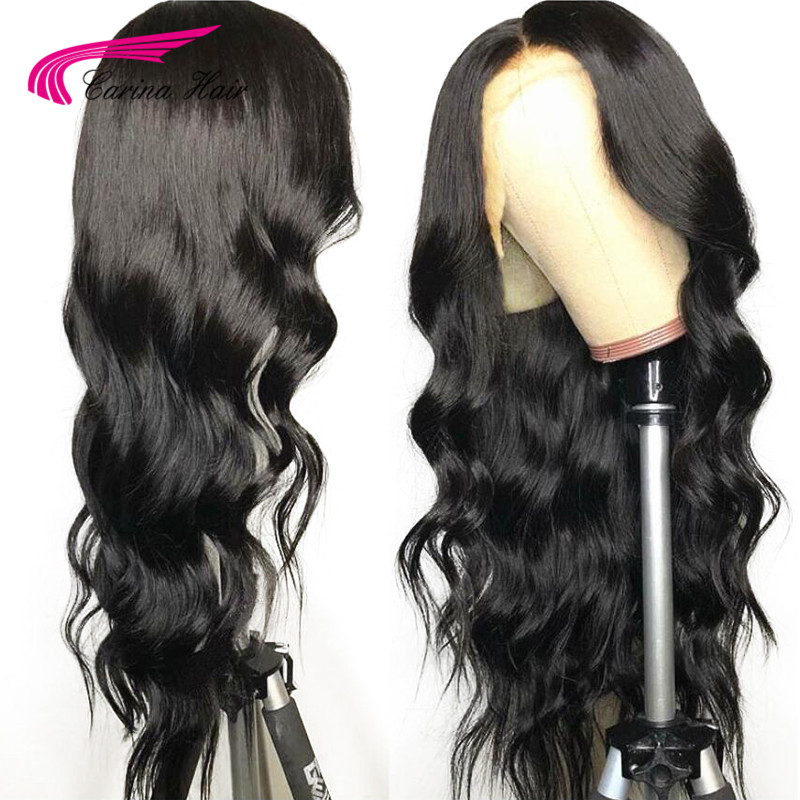 Transparent Lace Front Human Hair Wigs Brazilian Remy Glueless Pre Plucked Natural Black Front Lace Hair