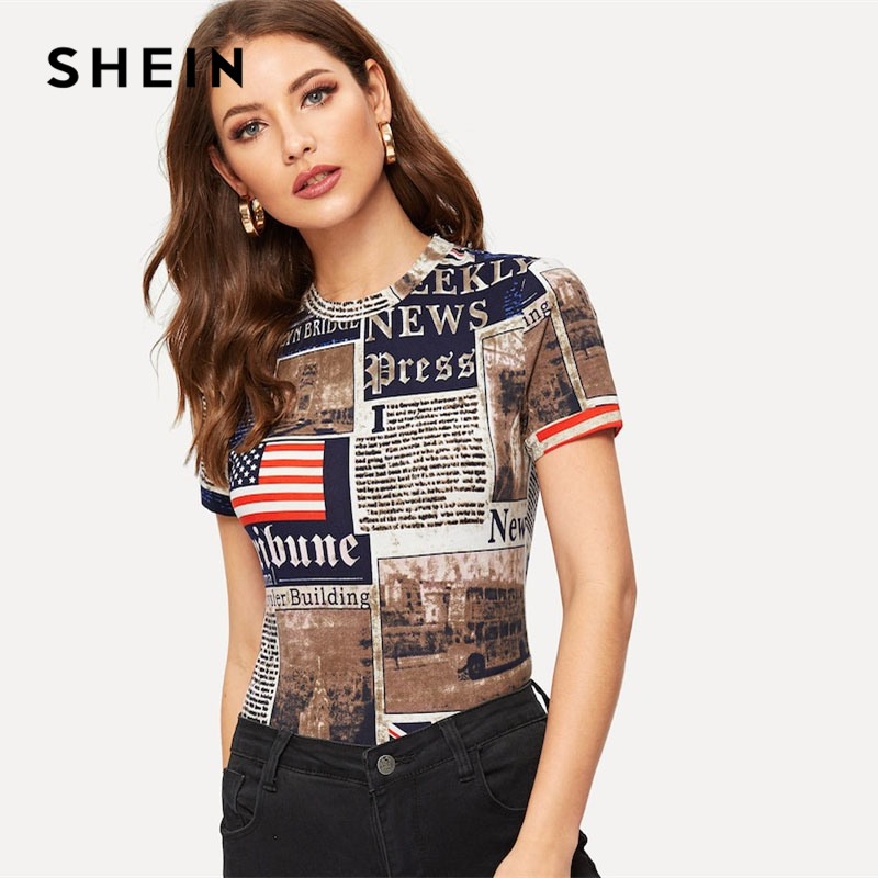 SHEIN Multicolor Highstreet Newspaper Letter Print Form Fitting Short Sleeve Tee 2019 Spring Casual Women Modern Lady Tshirt Top