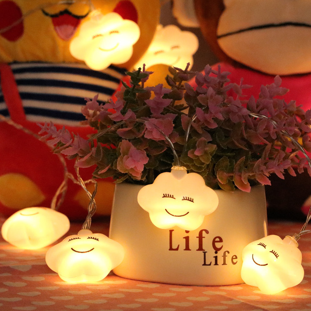 Us 8 49 Led Cloud String Lights Battery Powered Indoor Ambient Lighting For Garden Party Wedding Living Room Garland Home Decor In Led String