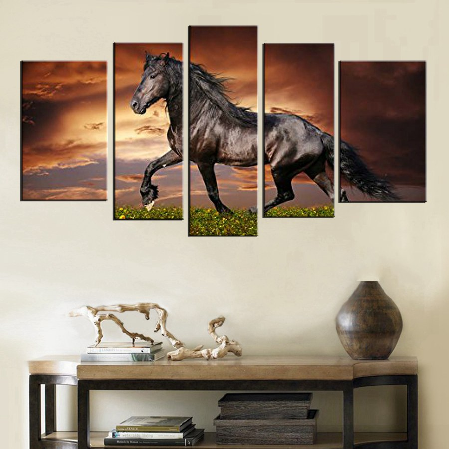 5 Panel Wall Art Black Friesian Running Horse Trot On Sunset Grass Flower Painting Print On Canvas Animal Picture For Home Decor