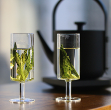 Get more info on the Chinese heat-resistant glass with high feet, straight body, green tea cup, foreign wine cup, tea cup, individual kungfu tea