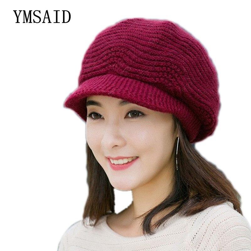 Ymsaid Elegant Ladies Winter Hats Women Knitted Caps Rabbit Fur Hat Autumn Winter Warm Crochet Slouchy   Beanie   Skull Cap