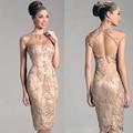 Curto Champagne mãe da noiva vestidos Sexy Backless frisada vestido de festa personalizado XMD24