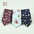 2016 New Fashion Necktie British 100% Cotton Flower Tie Narrow Mens Tie Floral cravat Clothing Accessories
