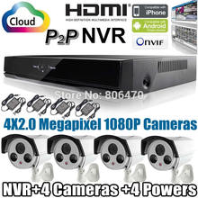 Free Shipping 4 CH Channel Security IP Camera KIT CMOS 960P Indoor Outdoor Night Vision with