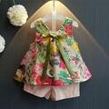 Retail 2017 girls clothes summer 2016 girls clothing sets kids clothes Floral girl shirts+shorts clothing sets 2-9 year