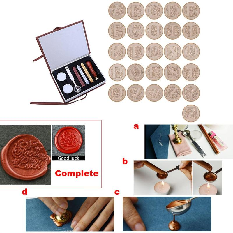 In Durable Box 26 English Alphabets Metal Hot Sealing Wax Clear Stamps Set Dia 25mm Stamps Wax Seals Delicate Cuprum Stamps bradex hot stamps