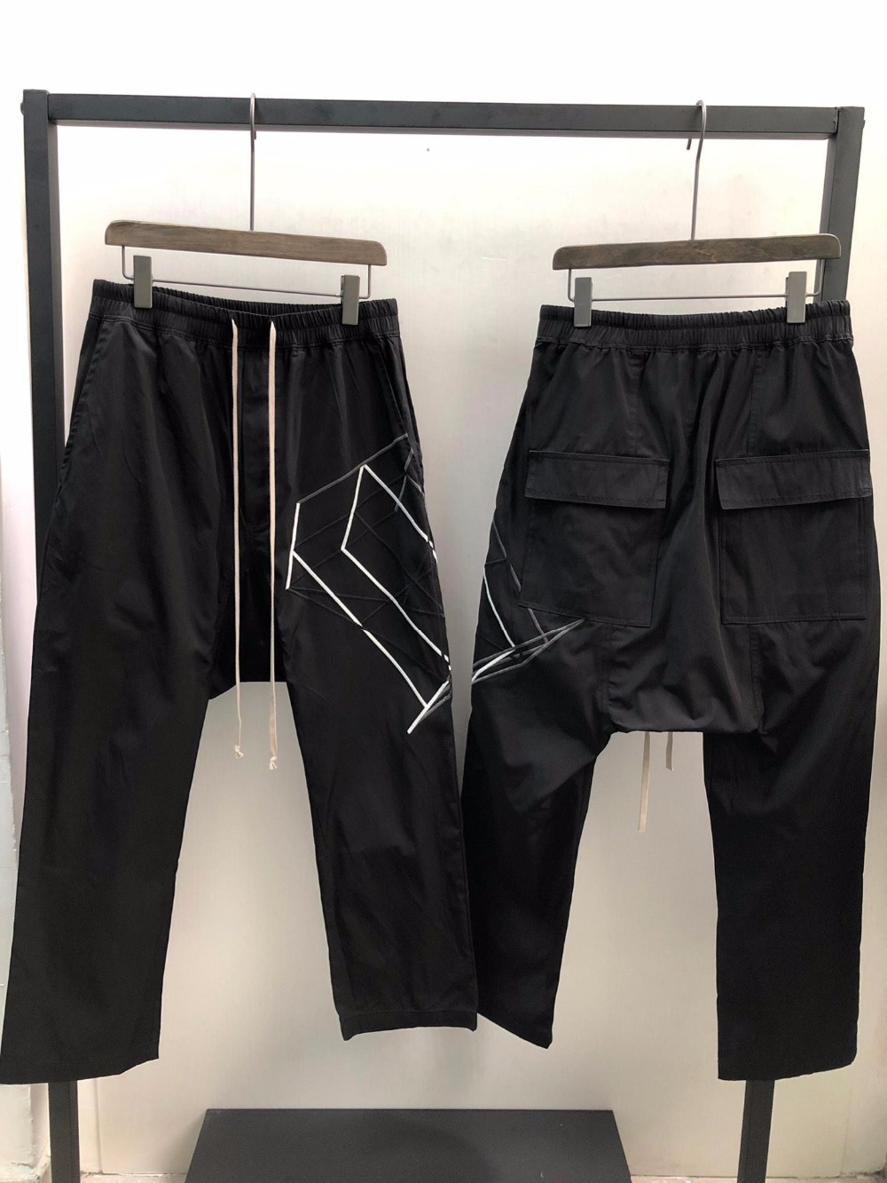 Erkek Kıyafeti'ten Harem pantolon'de Owen Seak Erkekler harem pantolon % 100% Pamuk Gotik erkek giyim Sweatpants Yaz Hafif Kadınlar Katı Gevşek Pantolon Boyutu XL'da  Grup 1