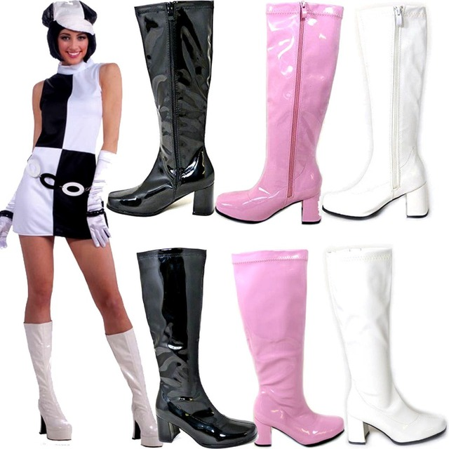 438ecead467 US $79.99 |US4 11 Women's Fancy Knee High Boots Patent Leather Chunky Heel  Zip Retro Shoes Tailor made Full Size and All Colors-in Knee-High Boots ...
