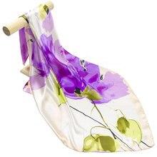 Шелковый женский шарф акварельный цветок Шелковый бандана хиджаб цветочный принт платок Женский Средний квадратный шелковый шарф