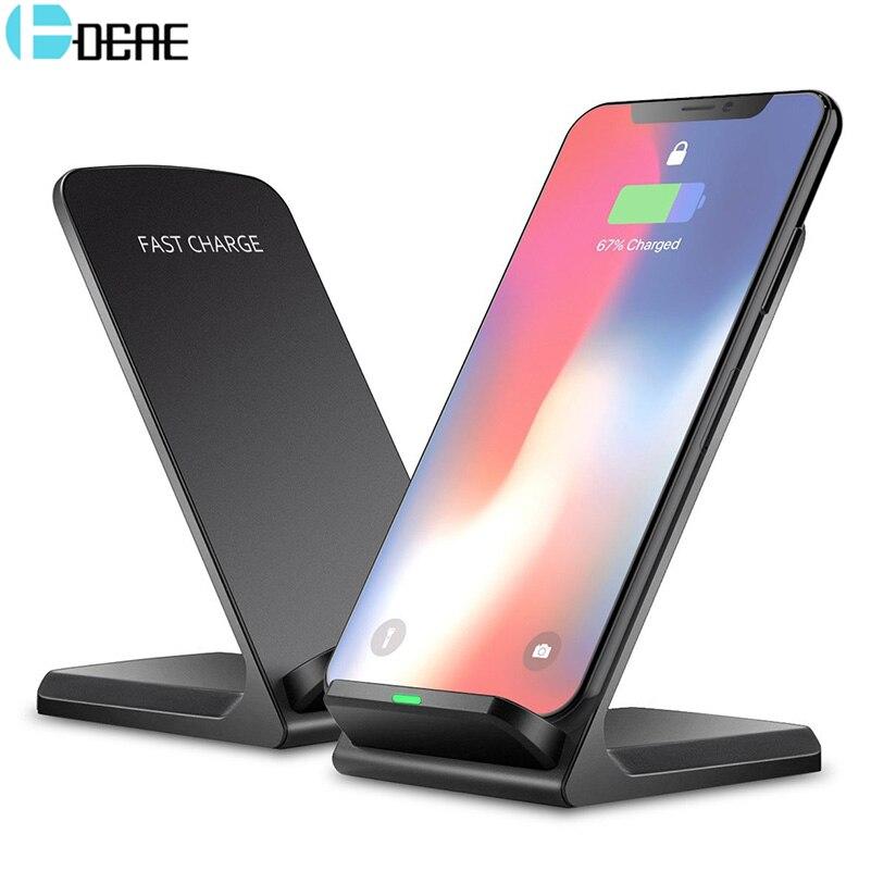DCAE 10 watt Qi Drahtlose Ladegerät Für Samsung S9 S8 S7 Hinweis 9 8 Schnelle Wireless Charging Dock Für iPhone XS MAX XR X 8 Plus USB Ladegerät