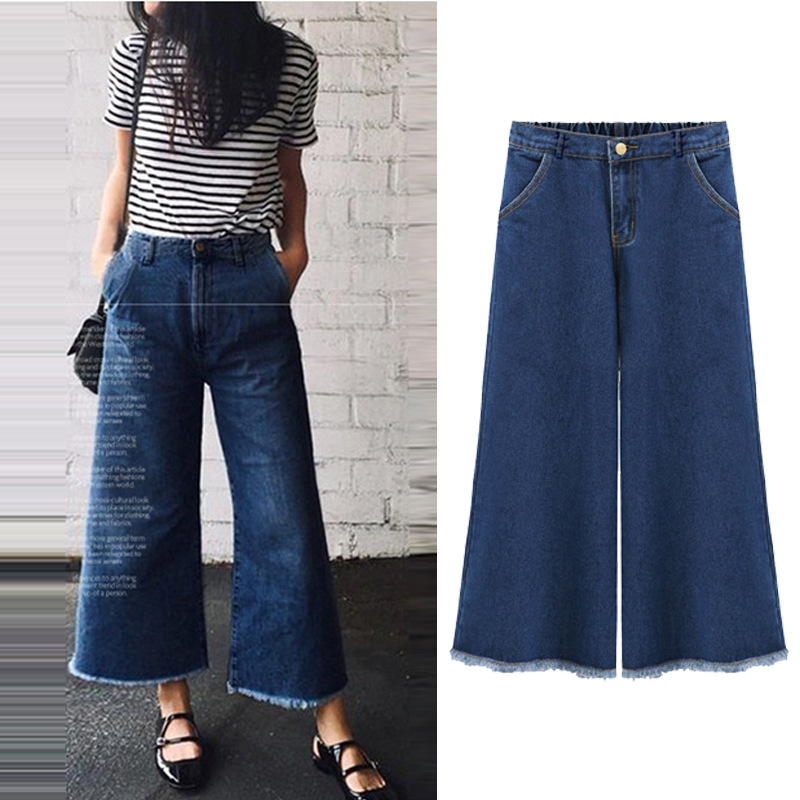 New summer autumn elastic waist bule   jeans   women mid waist ankle-length wide leg pants loose female denim trousers plus size 5XL