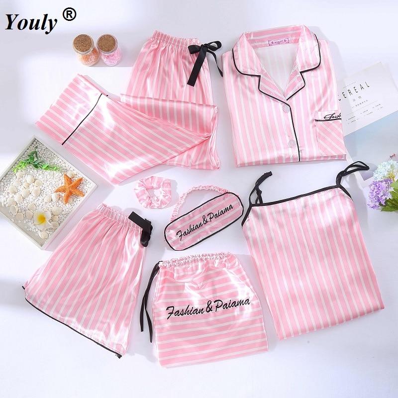 Women 7 Pieces Pink Pajamas Sets Satin Silk Lingerie Homewear Sleepwear Pyjamas Set Pijamas Female Stripe Printed Nightwear Suit
