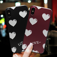 IMIDO 3D Love Heart Pattern Matte Fresh Color TPU Soft Silicone Cases For iphone 6/7/8/X Anti-fall Lanyard Fashion Back Cover