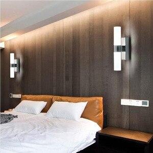 Image 4 - AC85 265V 6 ワットダブルヘッドアクリル led ウォールライトホテル/寝室の壁ランプ浴室のためのステンレス鋼 led ミラーライト