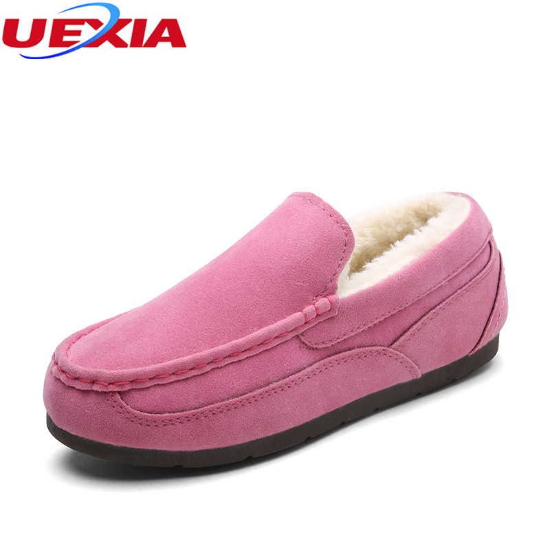 UEXIA Winter Moccasins Ladies Warm Casual Shoes Thick Fur Rubber Soles Low Prices Fashion Flats Shoes Moccasins for Woman Loafer vesonal brand faux fur women shoes flats 2017 winter warm velvet female fashion ladies woman sneakers casual footwear tsj 189