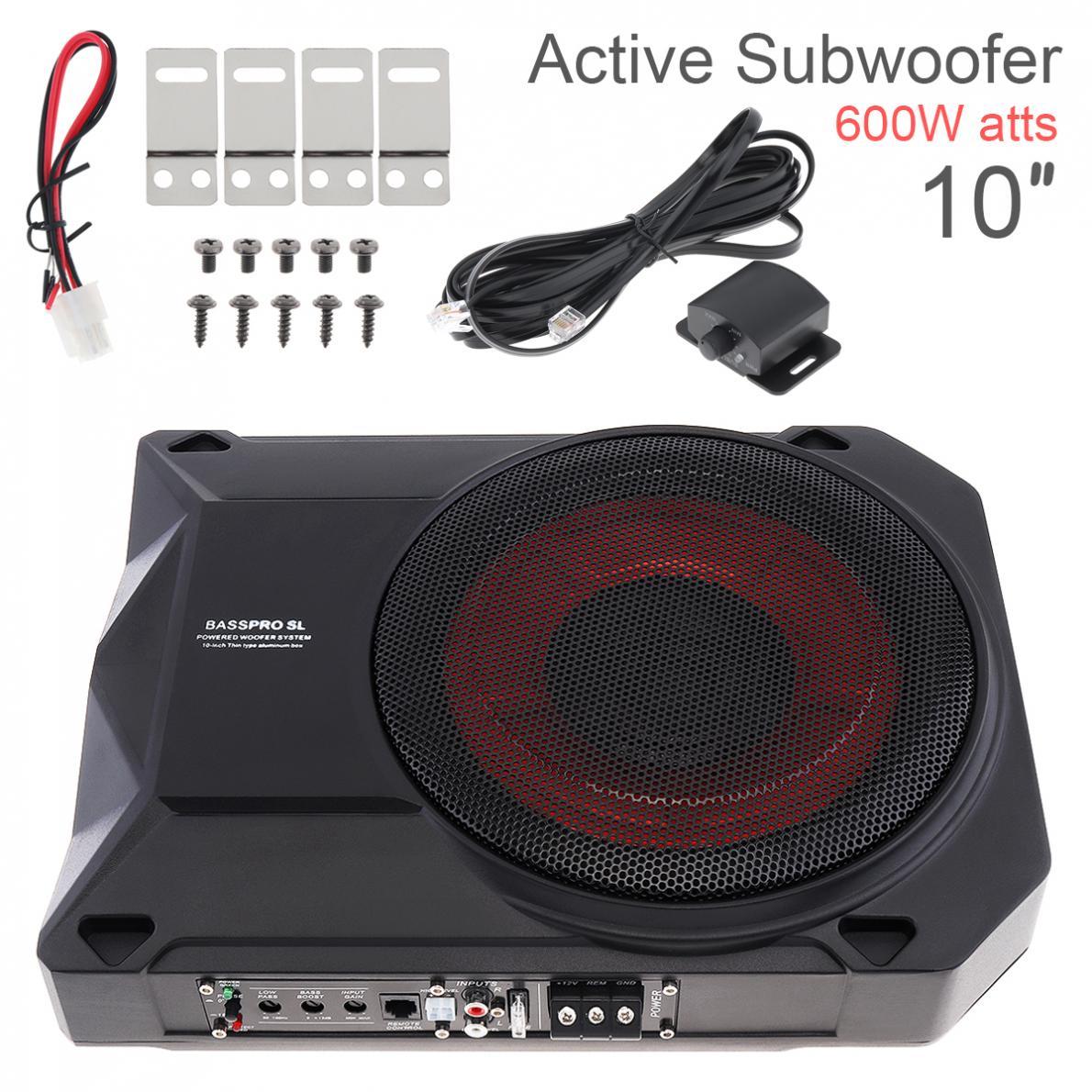 Noir universel 10 pouces 600W 12V Fuselage mince sous siège voiture Subwoofer actif amplificateur de basse haut-parleur