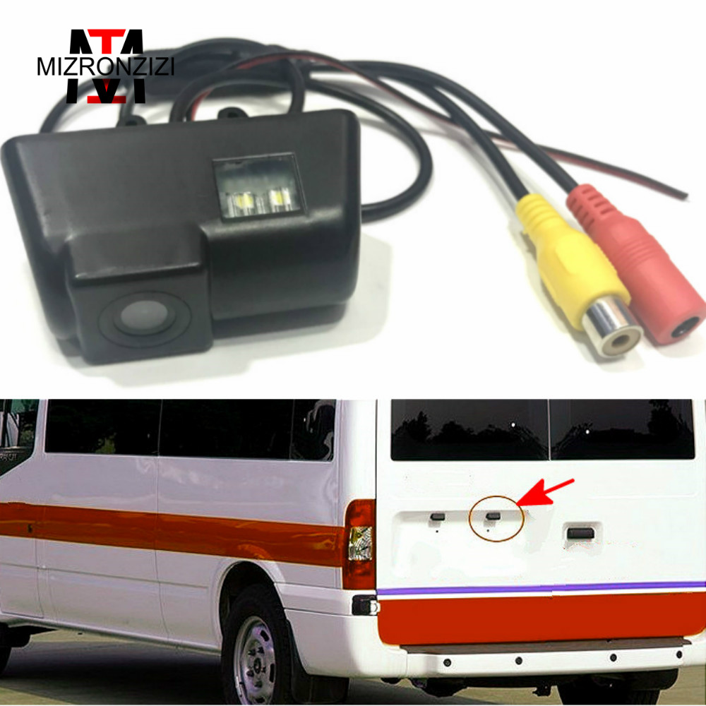 MIZRONZIZI 170 Degree Ccd Hd License Plate Car Rear View Camera For Ford Transit Connect Auto Parking System Backup Camera Sale цена
