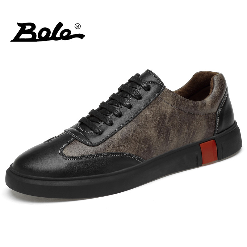 BOLE Large Size 38-46 Men Casual Shoes Leather Waterproof Flats Men Lace Up Sneakers 2018 Fashion High Quality Men Casual Shoes chilenxas autumn winter large size 35 45 leather men casual shoes lace up breathable lovers height increasing fashion waterproof