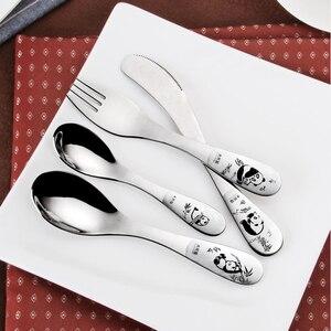 Посуда для детей, мультяшный китайский гигантский панда, нержавеющая сталь, набор столовых приборов для детей, 4 предмета, Обеденный нож, вилка, столовая ложка, набор для пикника