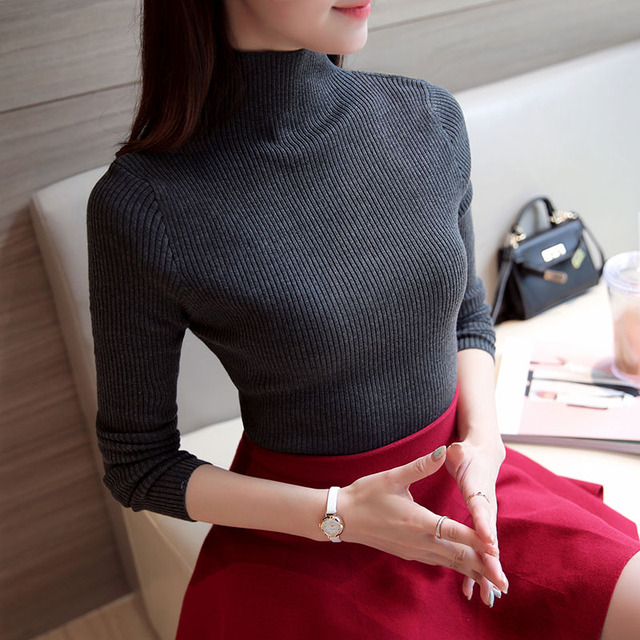 2017 Korean Autumn Winter Knitted Sweaters for Woman Pull Femme Slim Comfortable Turtleneck Long Sleeve Sueter Mujer Chandail